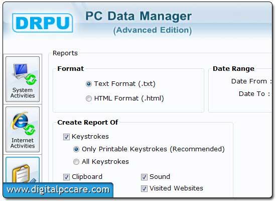 Track PC activity using Local Key Logger tool
